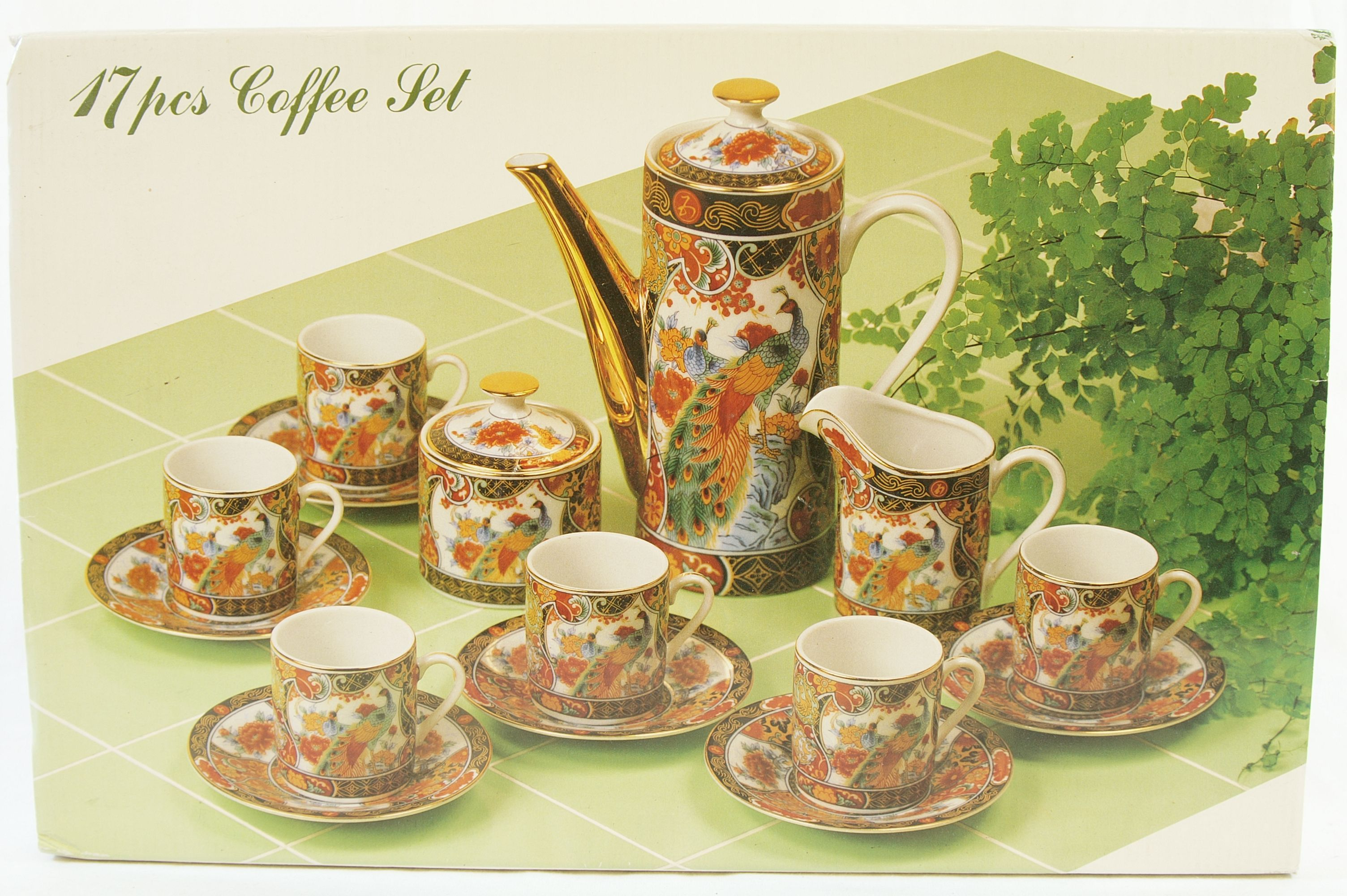 17 Piece Imari Japanese Coffee Set Peacock Design