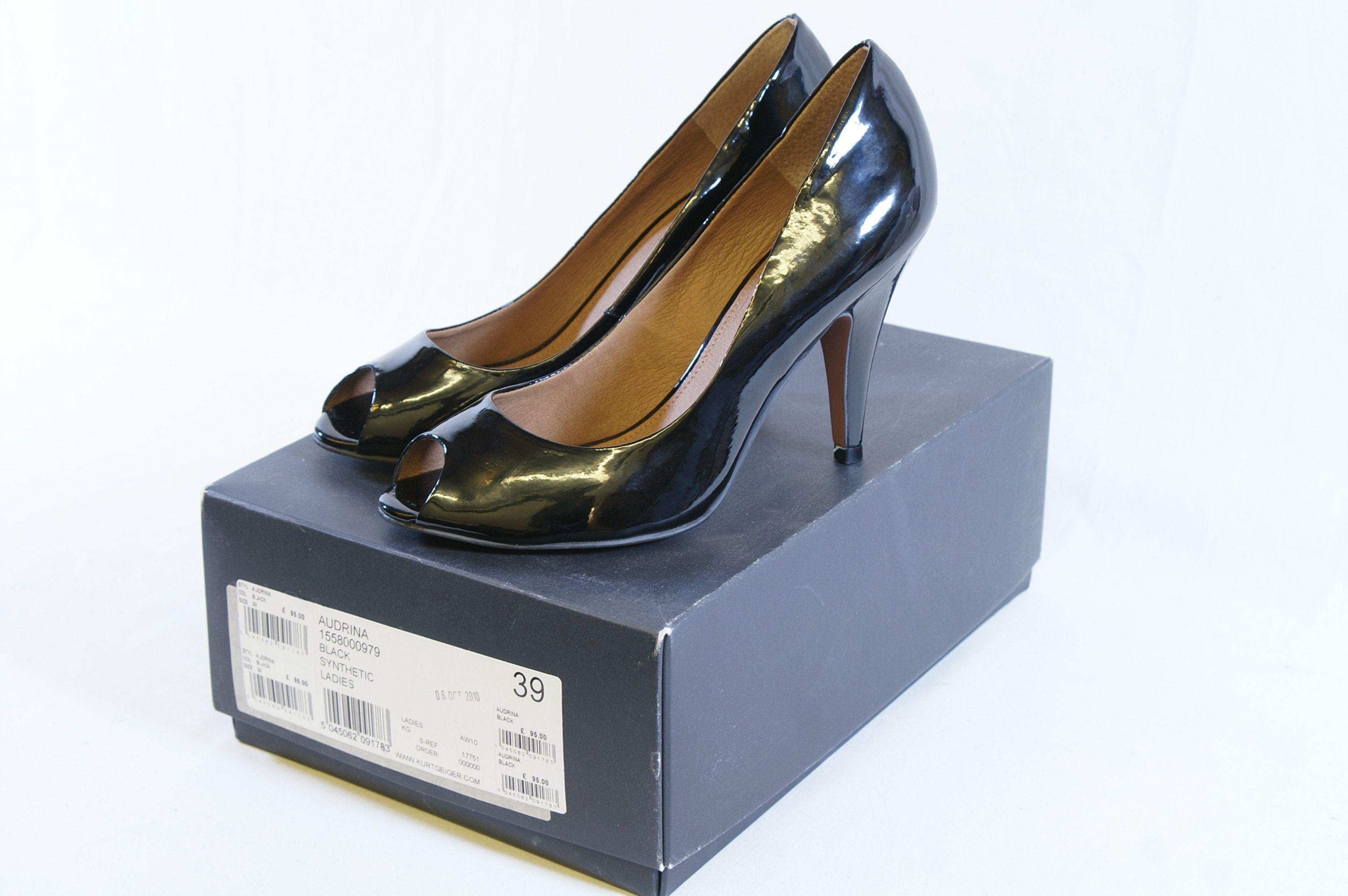 4db5e32b229e Open Full-Size Image. KG by Kurt Geiger Audrina Black Patent Peep Toe   Open  Toe Stilettos ...