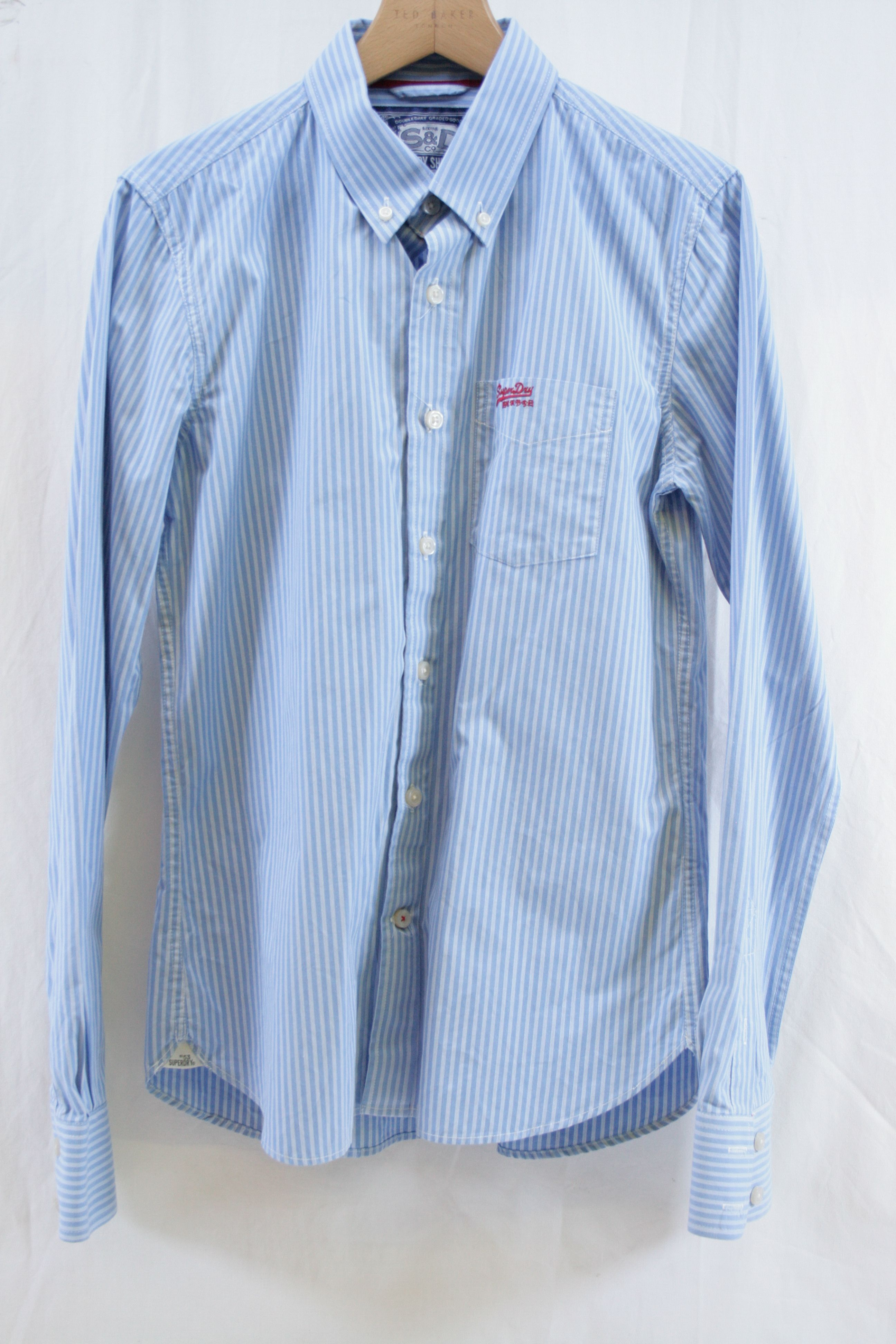 Mens Superdry Pale Blue White Striped Long Sleeve Shirt