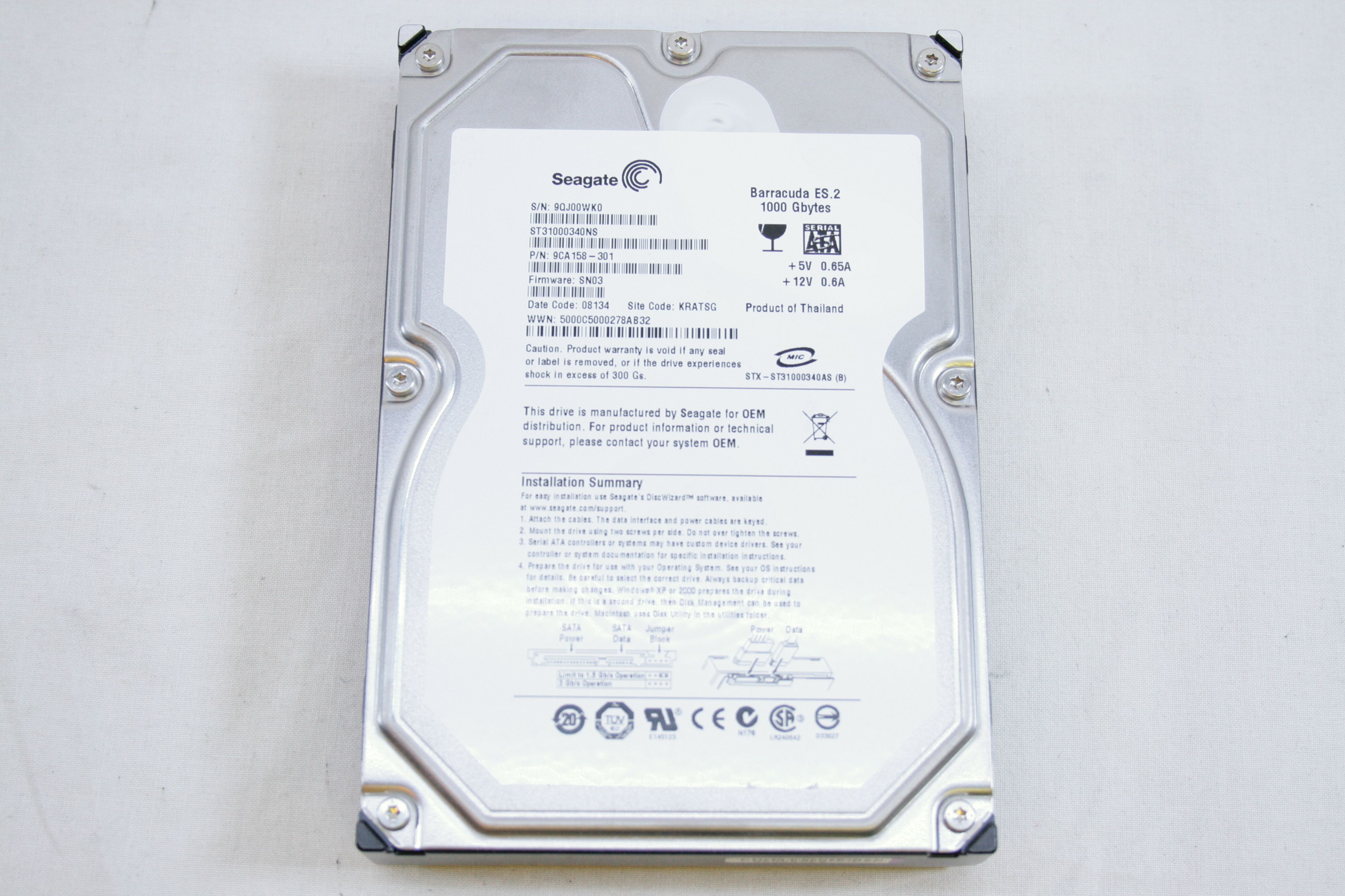 Seagate Barracuda Es2 1tb 7200 Rpm 35 Internal Sata Hard Drive Baracuda Open Full Size Image