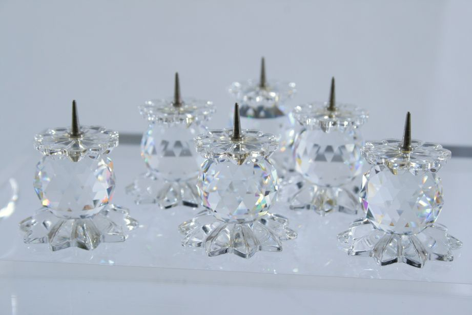 Swarovski Crystal 131 Metal Pin Pointed Base Candle Holders - Set of 6