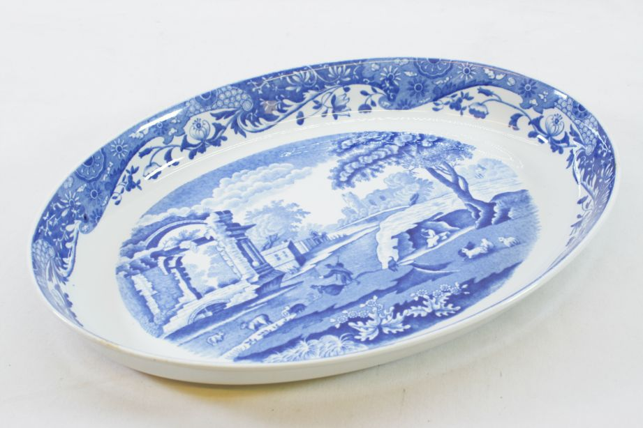 """Spode Imperial Cookware Blue Italian Oval Serving Dish 14"""" Oven to Table 1816"""