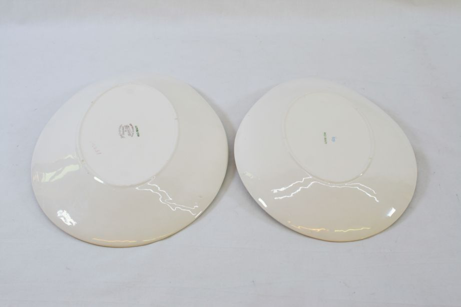 Royal Staffordshire Clarice Cliff Wild Beauty Oval Serving Dish / Plate Pair 2