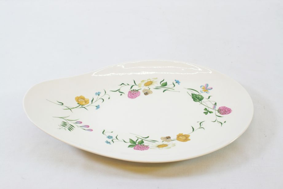 Royal Staffordshire Clarice Cliff Wild Beauty Oval Serving Dish / Plate Pair 3