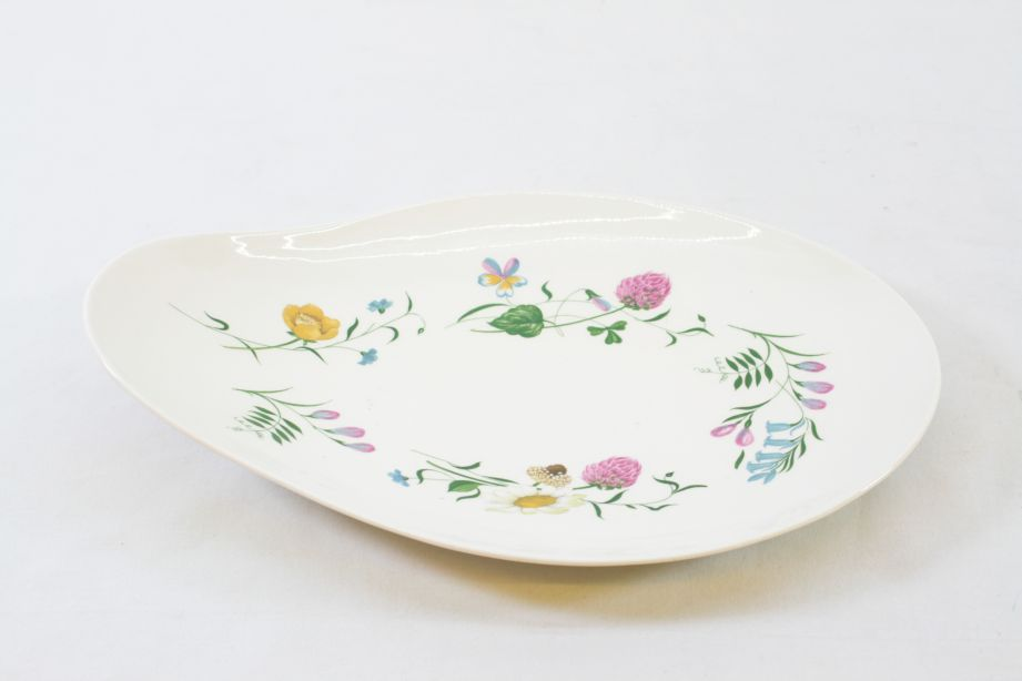 Royal Staffordshire Clarice Cliff Wild Beauty Oval Serving Dish / Plate Pair 4