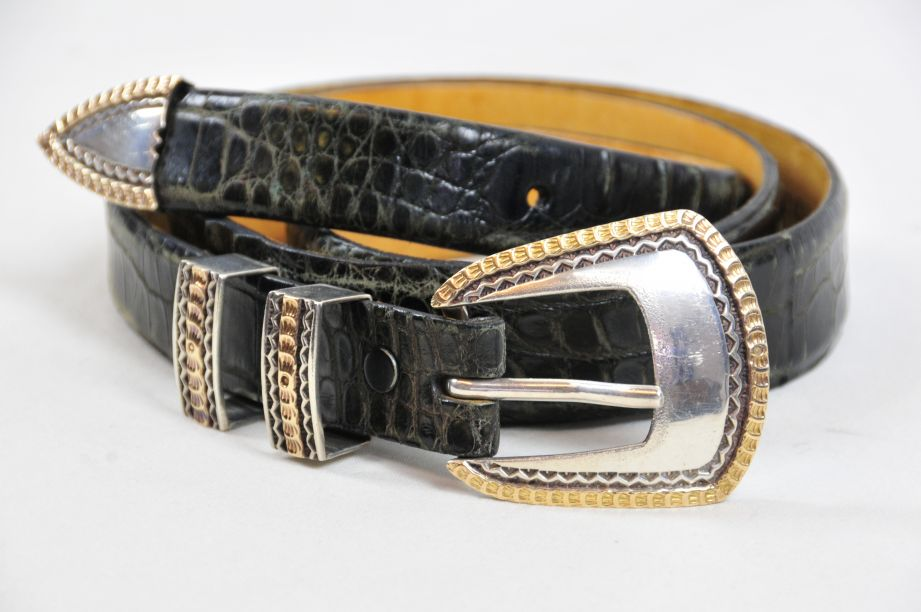 Saddlebags Alligator Belt with Randall D. Moore Sterling Silver Zigzag Buckle