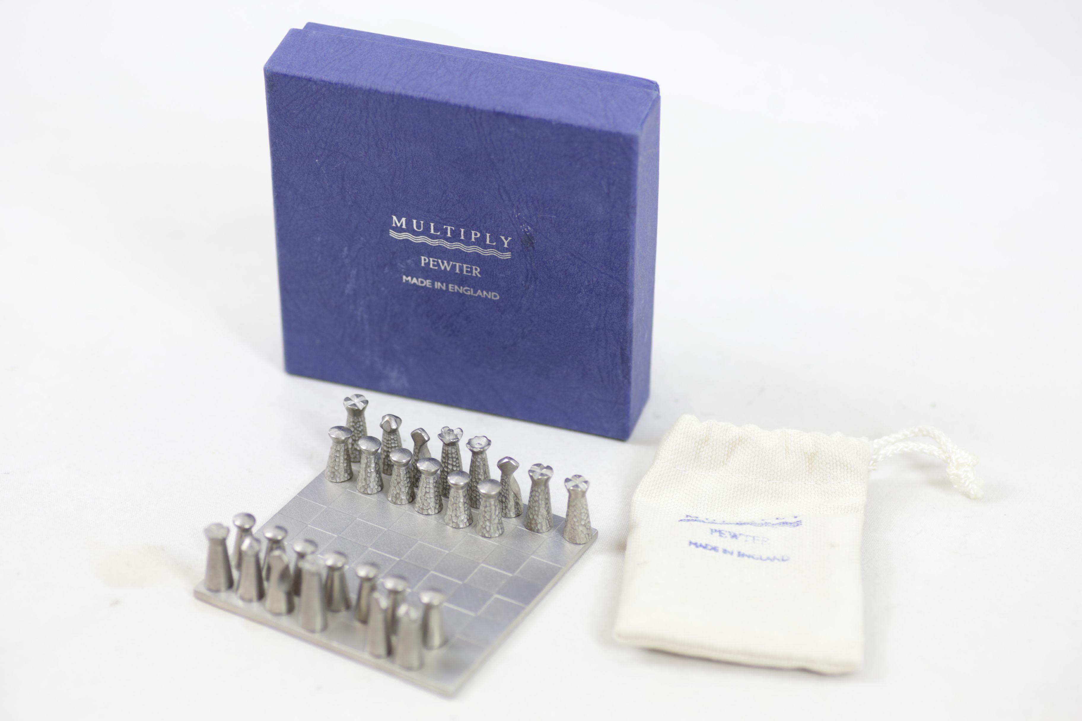 Pewter Miniature Chess Set by Multiply - Made in England
