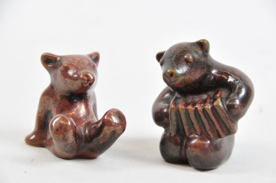 Pair of Vintage L. Hjorth Bear Musicians / Orchestra Figurines