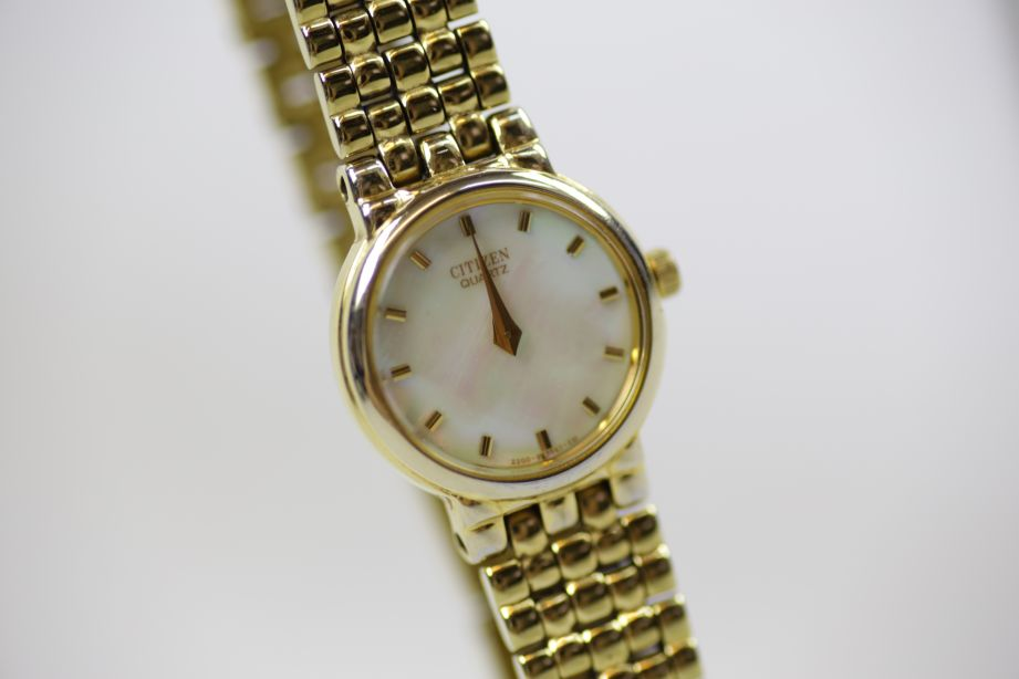 Ladies Citizen Gold-Tone Stainless Steel Bracelet Watch with Mother of Pearl Fac