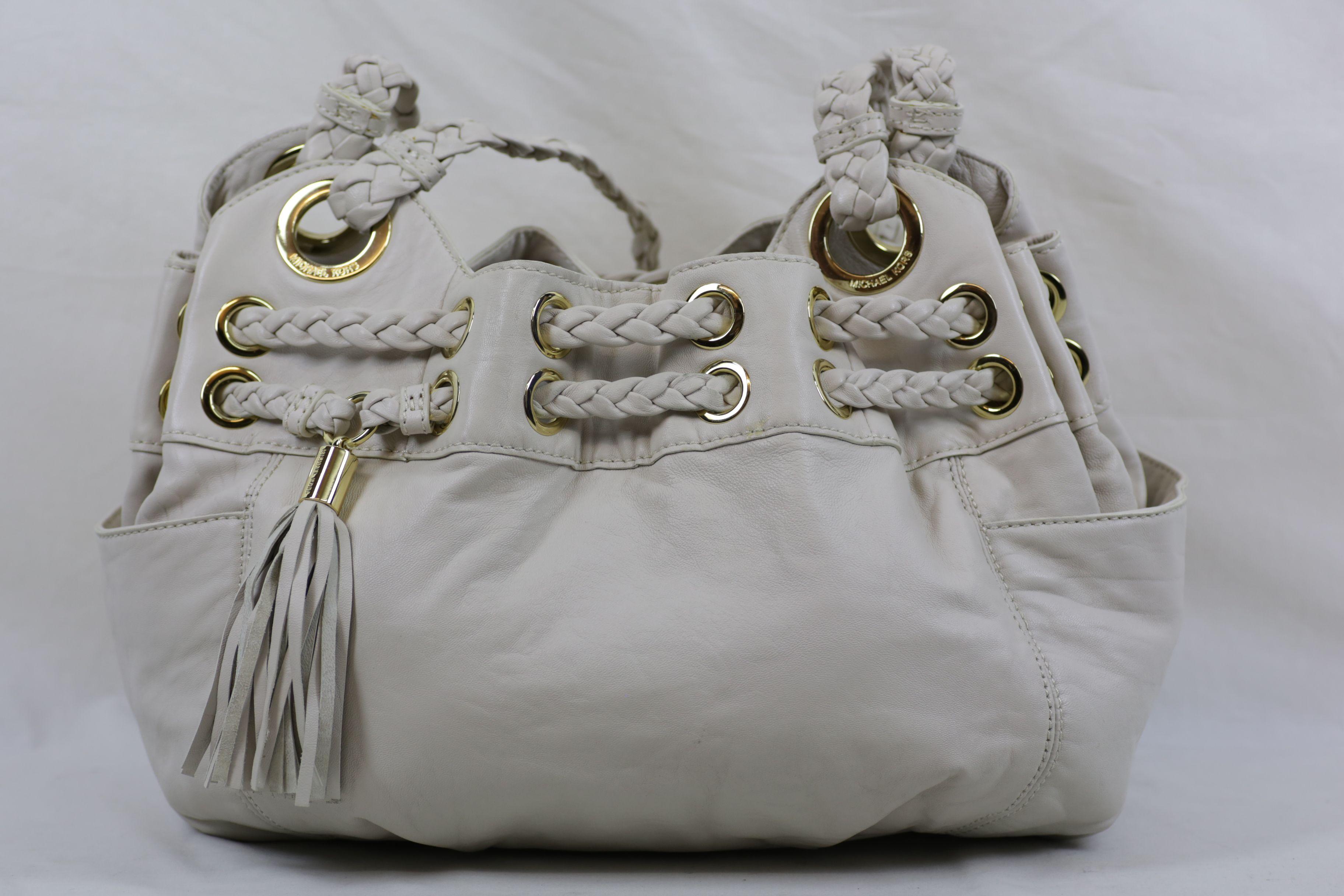 Michael Kors White Ivory Braided Grommet Tasseled Handbag