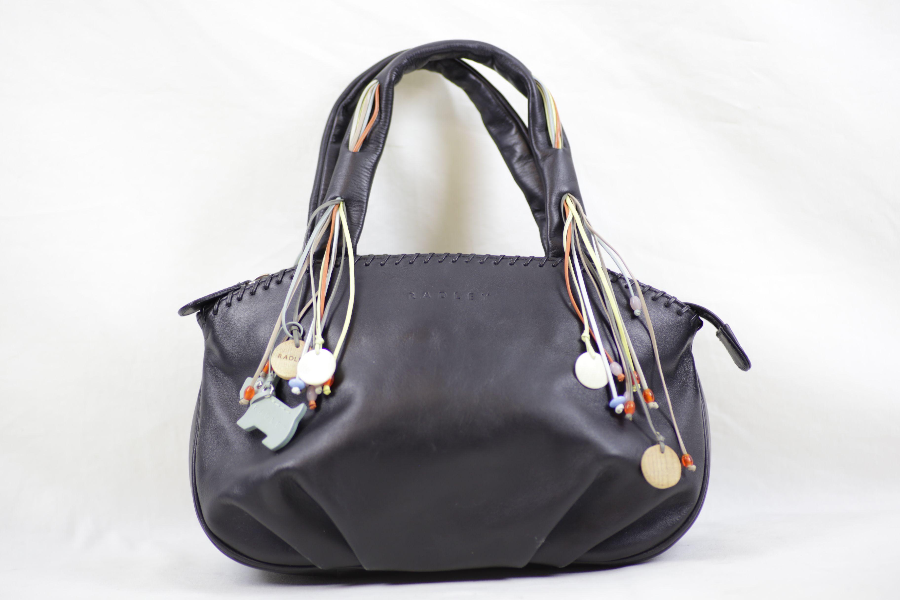 Radley Small Black Leather Tasseled Handbag with Beads