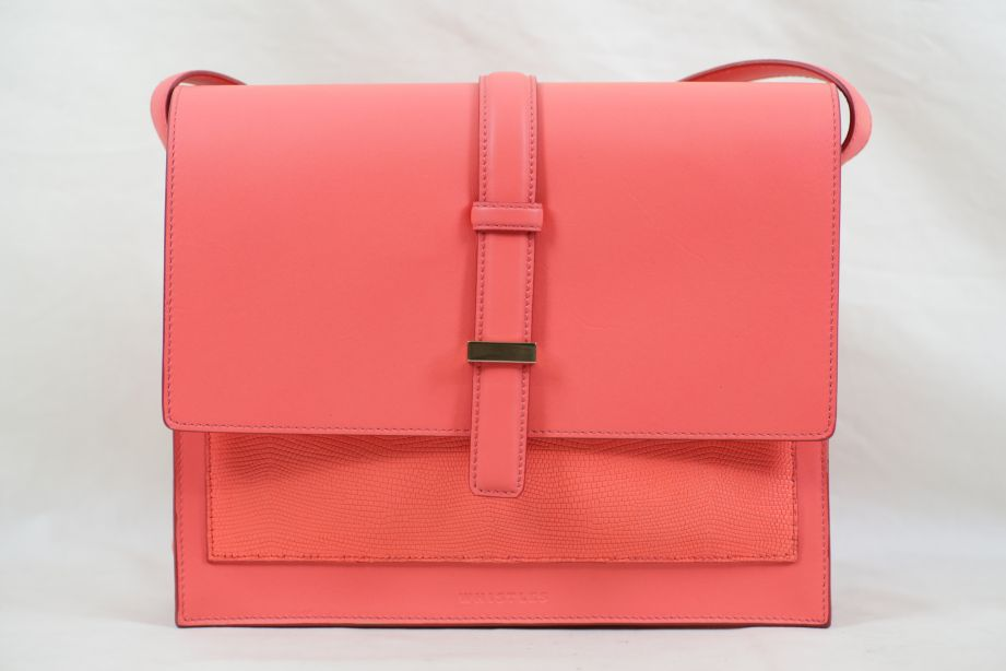 Whistles Neon Pink Leather Heidi Structured Cross Body Bag