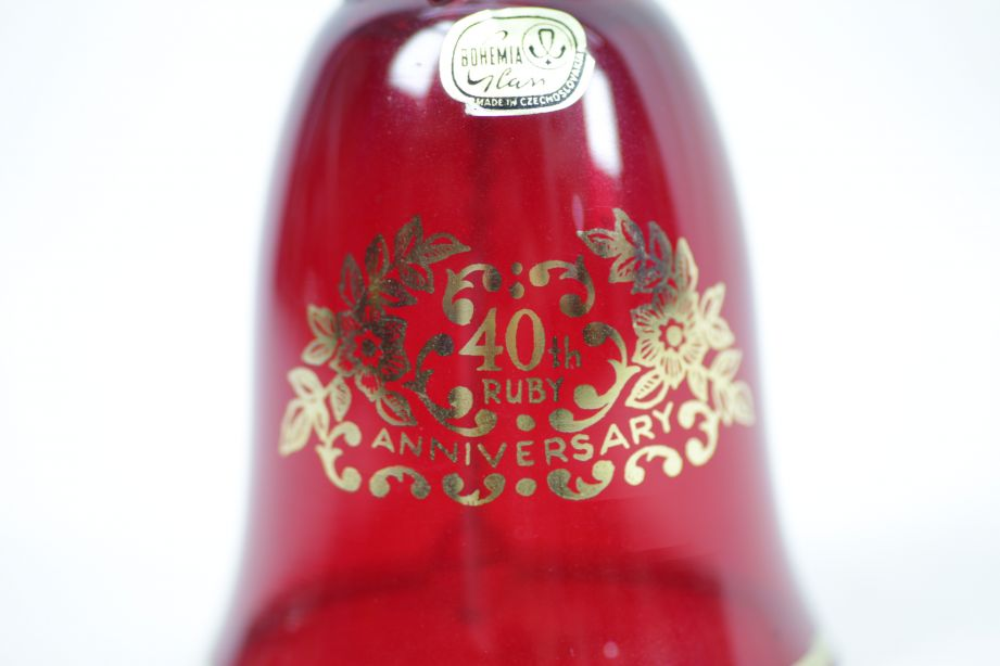 Bohemia Crystal Ruby Red Glass 40th Anniversary Bell in Gift Box 5