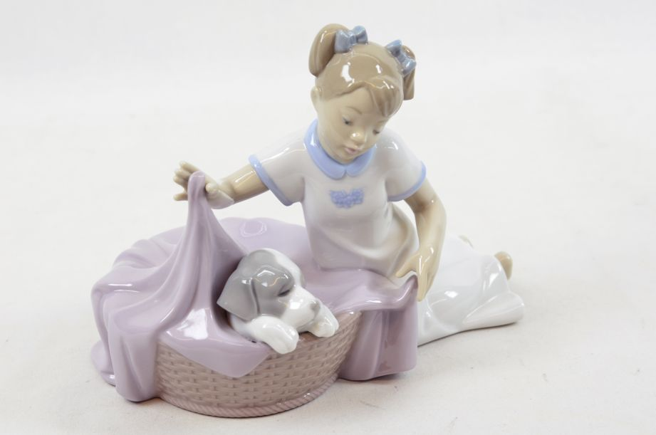 "NAO by Lladro Figurine ""It's Time to Sleep"" Girl With Dog in Basket #1417"