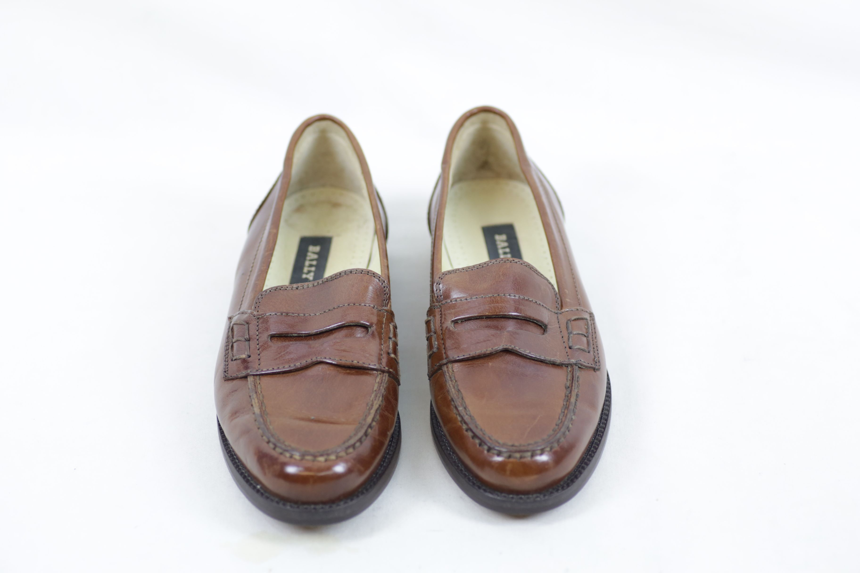 Bally Brim Classic Mid Brown Leather Shoes / Loafers - Size EU 36.5 UK 3.5 Thumbnail 1