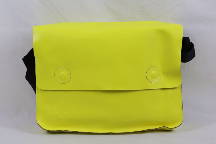 Undercover Large Leather Messenger Bag - Neon Yellow 1