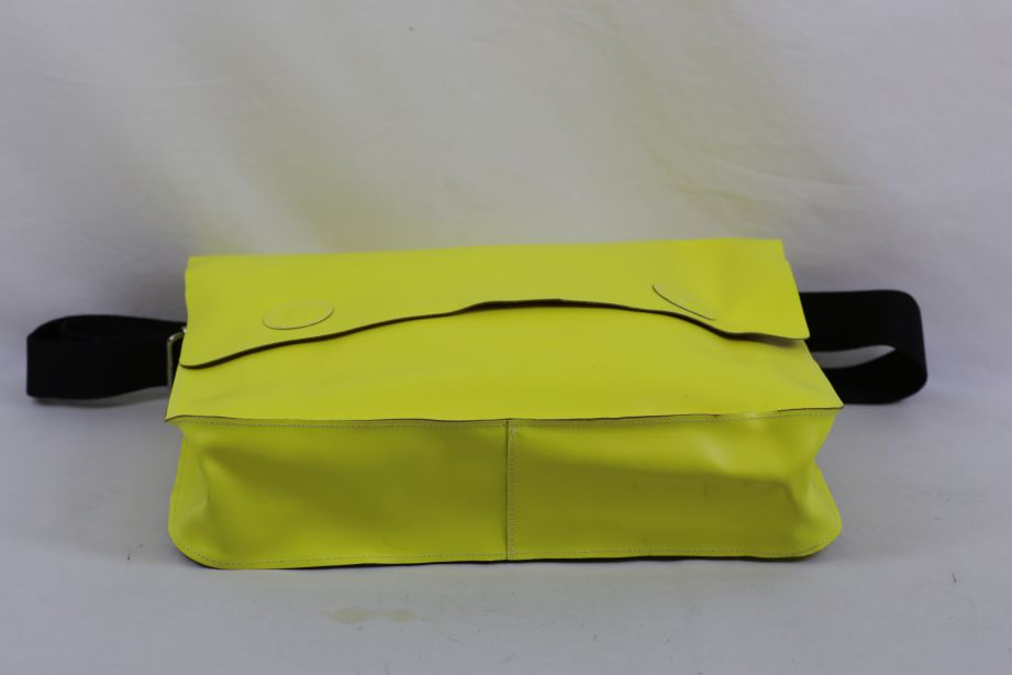 Undercover Large Leather Messenger Bag - Neon Yellow 4
