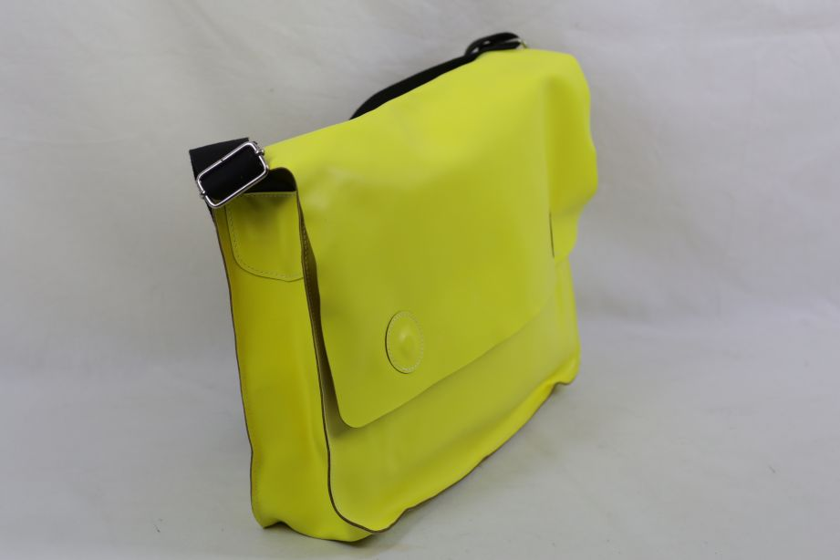 Undercover Large Leather Messenger Bag - Neon Yellow 6