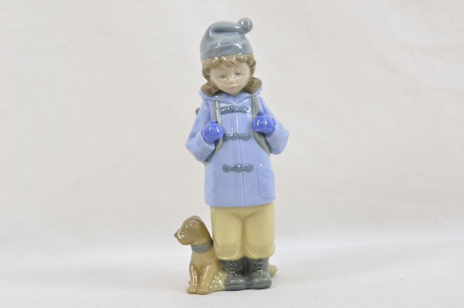 "NAO by Lladro Figurine ""Travelling Girl"" Girl in Coat Standing With Dog #1038"
