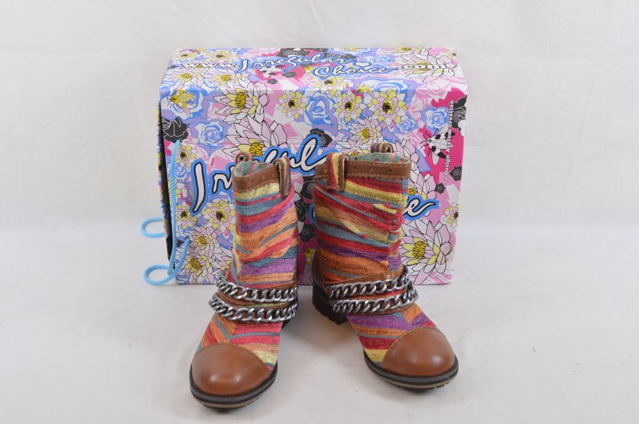 Irregular Choice Lets Be Honest Brown Multi Boots Size UK 5 EU 38