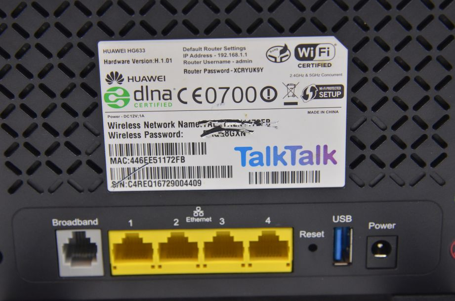 TalkTalk Super Router Huawei HG633 ADSL2+ Broadband Wireless N Modem 7