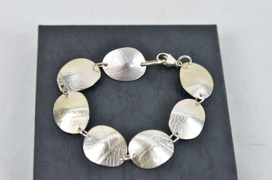 Charis Sutehall Handmade Sterling Silver Oval Dome Leaf Pattern Bracelet 3