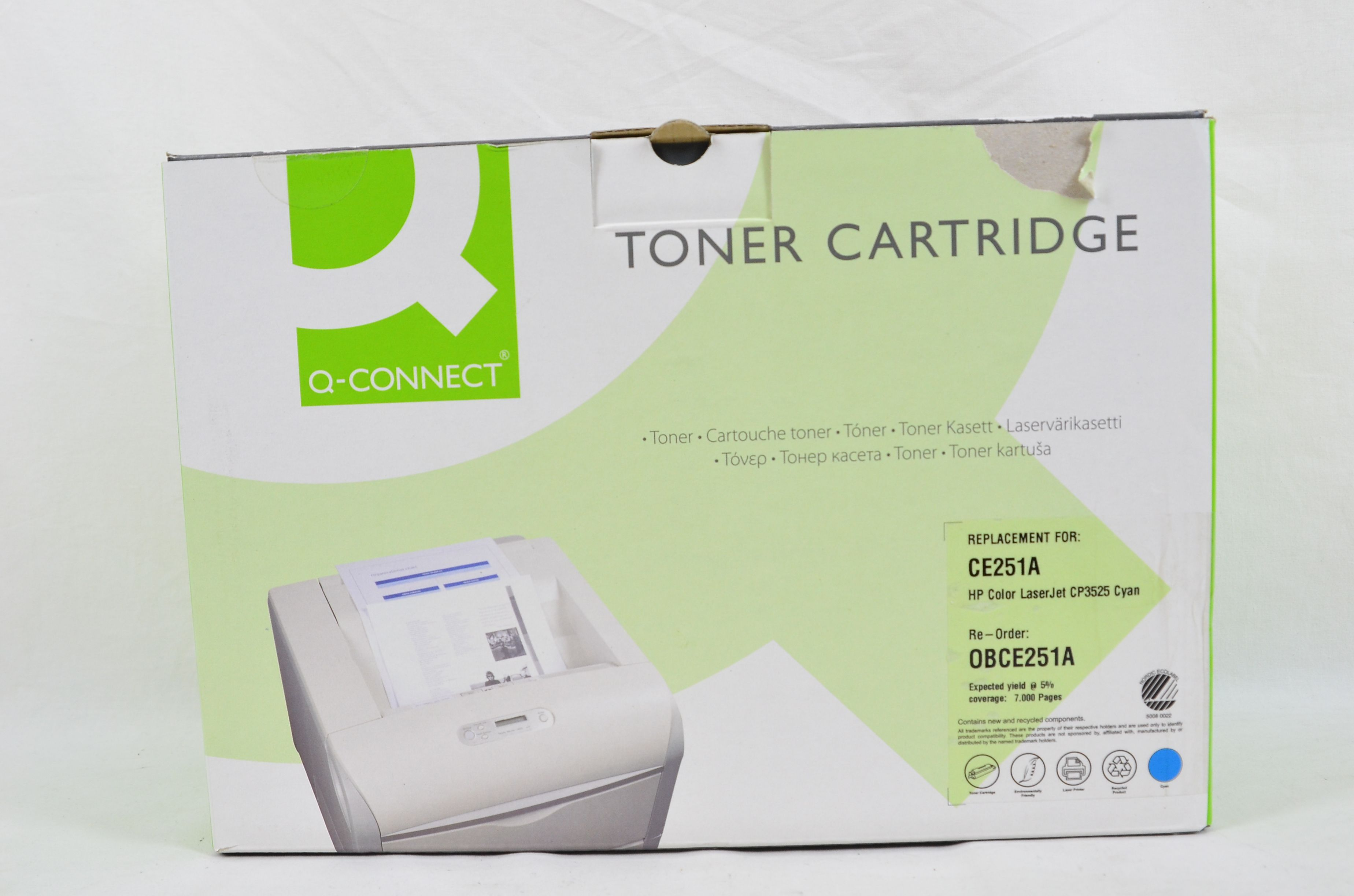 Q-Connect Compatible Toner Cartridge for HP CE251A - 7000 Pages - Cyan Thumbnail 1