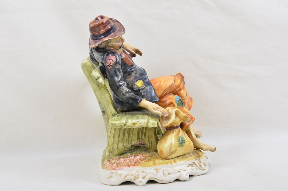 Large Capodimonte Tramp on Bench with Wine & Money Bag Figurine 2