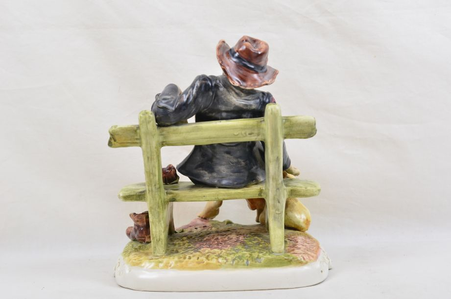Large Capodimonte Tramp on Bench with Wine & Money Bag Figurine 3