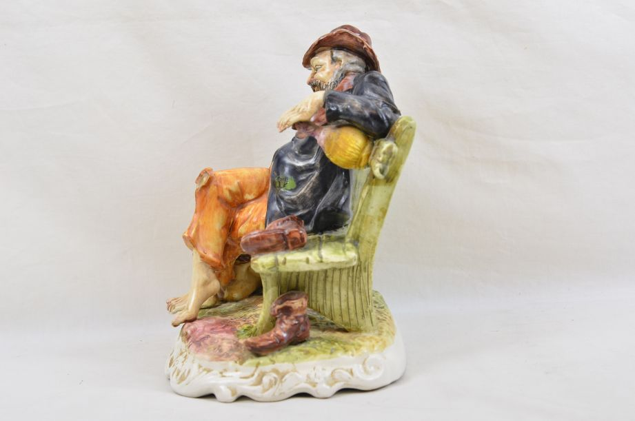 Large Capodimonte Tramp on Bench with Wine & Money Bag Figurine 4