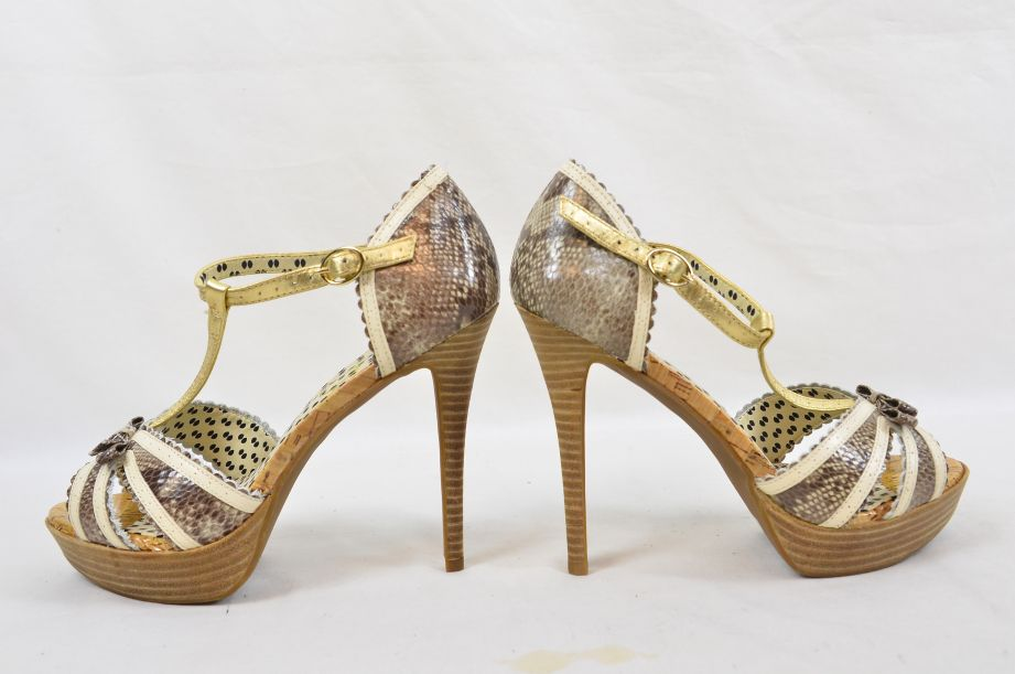 Jessica Simpson Britt Brown Snake Print Summer UK Size 6 6