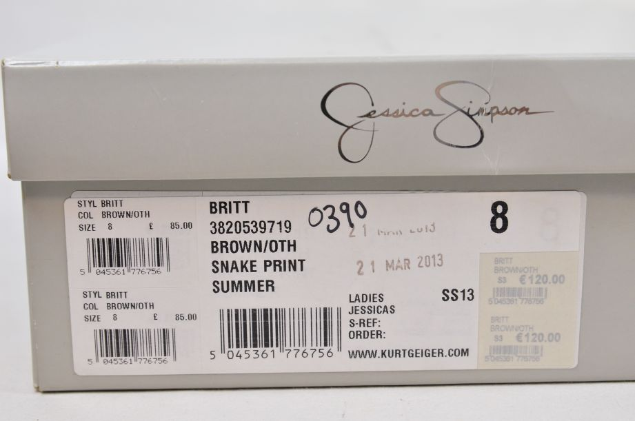 Jessica Simpson Britt Brown Snake Print Summer UK Size 6 9