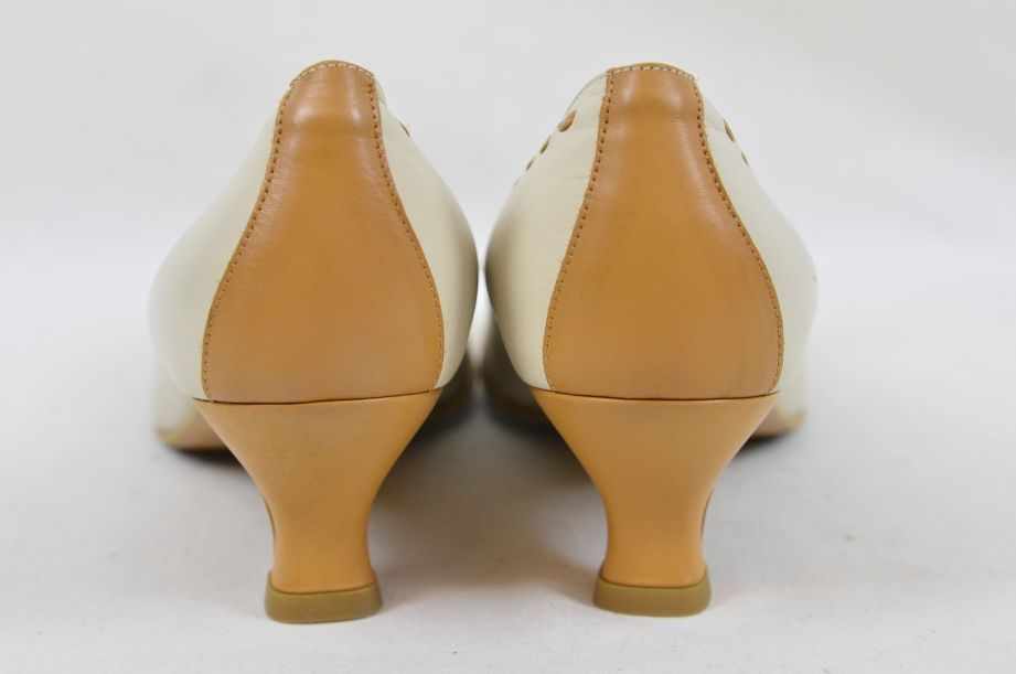 Hotter Comfort Concept White Tan Leather Ladies Shoes UK Size 4.5 4