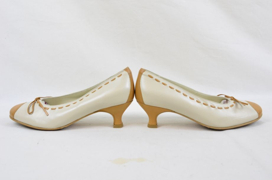 Hotter Comfort Concept White Tan Leather Ladies Shoes UK Size 4.5 5