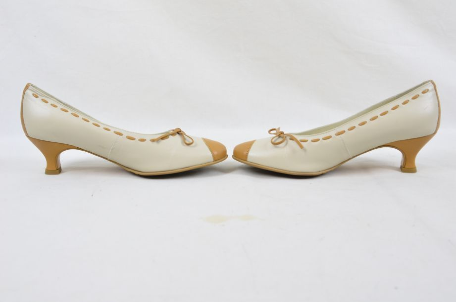 Hotter Comfort Concept White Tan Leather Ladies Shoes UK Size 4.5 6