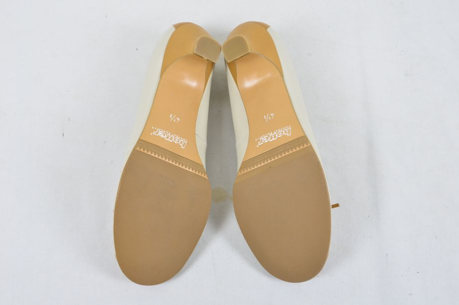 Hotter Comfort Concept White Tan Leather Ladies Shoes UK Size 4.5 7