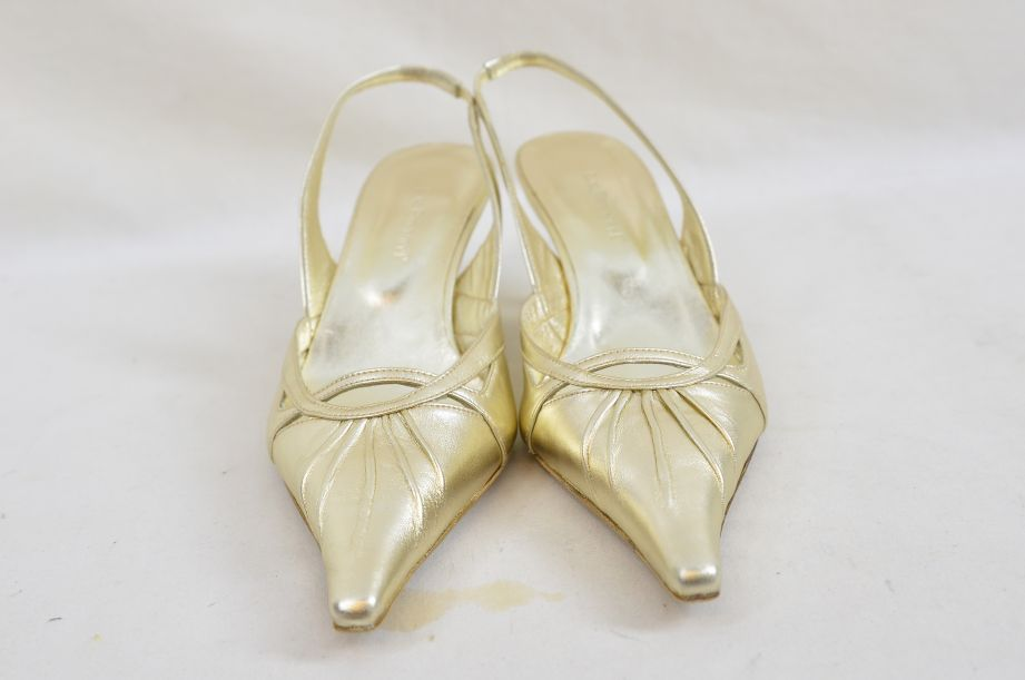 L k Bennett Poem Gold Ladies Shoes UK Size 4.5 New Unworn 1