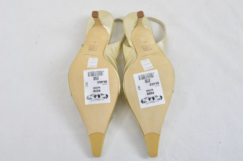 L k Bennett Poem Gold Ladies Shoes UK Size 4.5 New Unworn 5