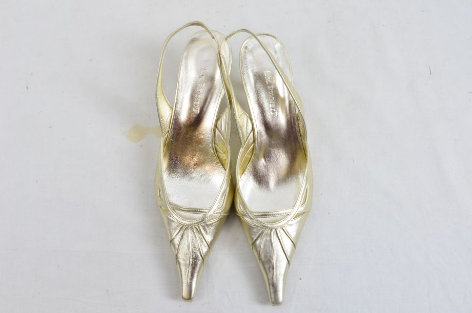 L k Bennett Poem Gold Ladies Shoes UK Size 4.5 New Unworn 7