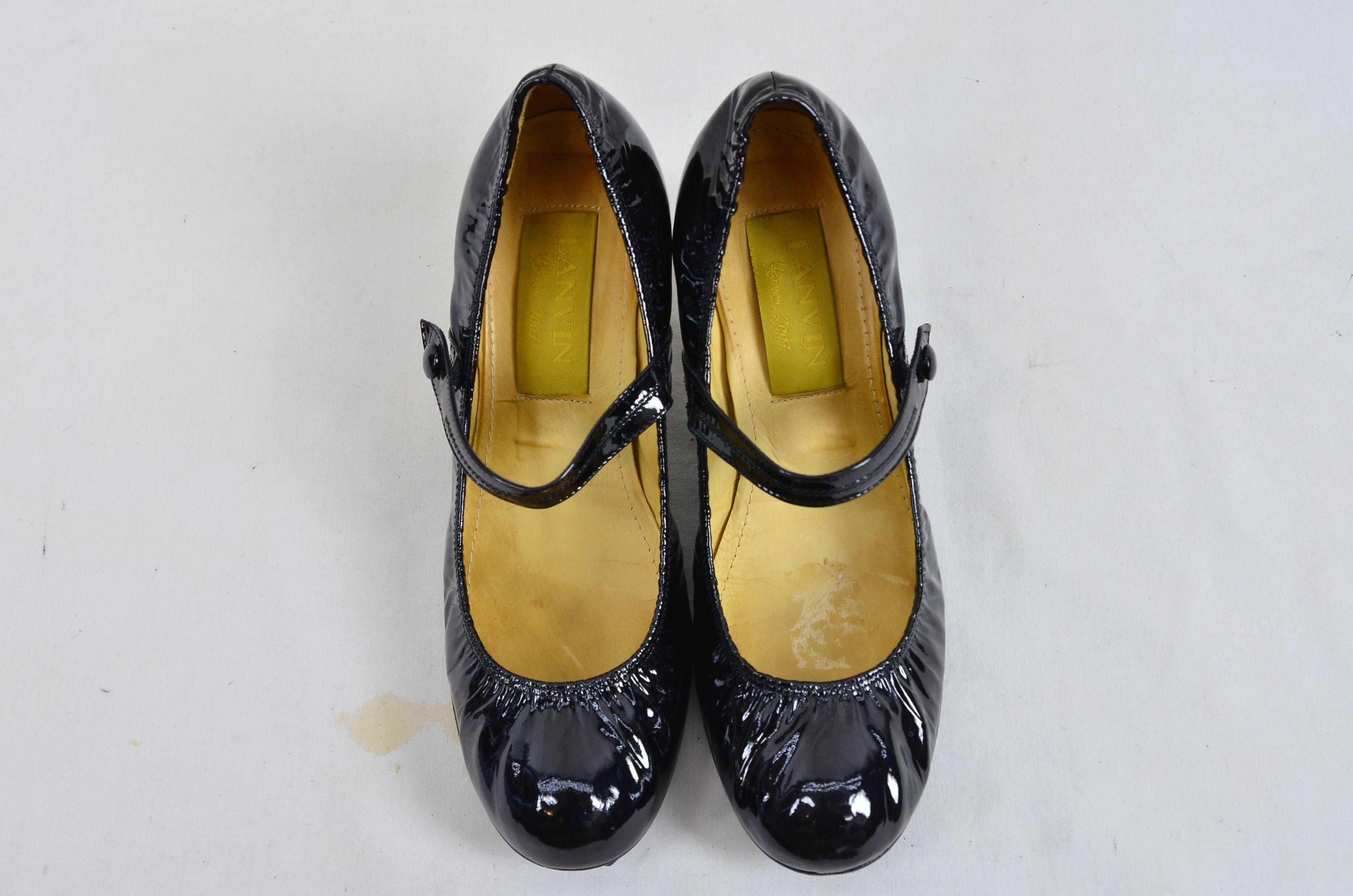 bb73d783209 Lanvin River 2007 Ballerinas Bride Velvet Lamb Heel Ballet Black Shoe 3.  Open Full-Size Image