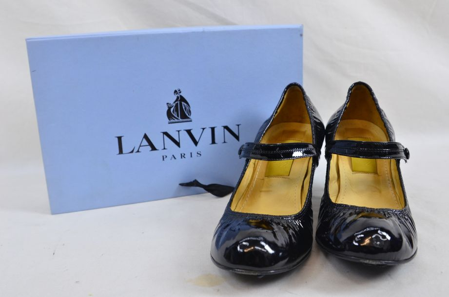 Lanvin River 2007 Ballerinas Bride Velvet Lamb Heel Ballet Black Shoe UK 6.5 1