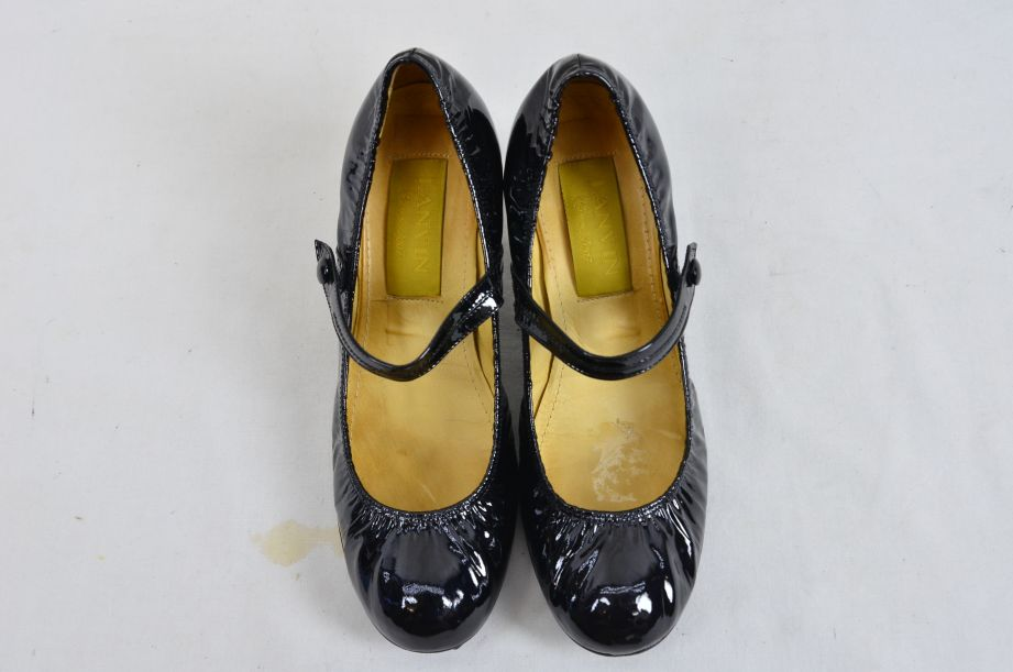Lanvin River 2007 Ballerinas Bride Velvet Lamb Heel Ballet Black Shoe UK 6.5 3