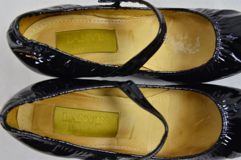 Lanvin River 2007 Ballerinas Bride Velvet Lamb Heel Ballet Black Shoe UK 6.5 7