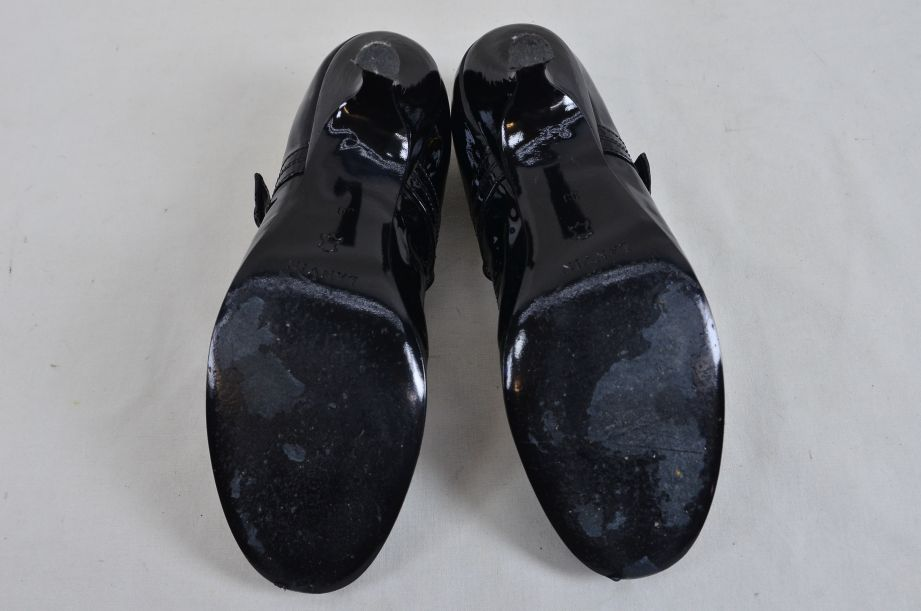 Lanvin River 2007 Ballerinas Bride Velvet Lamb Heel Ballet Black Shoe UK 6.5 8