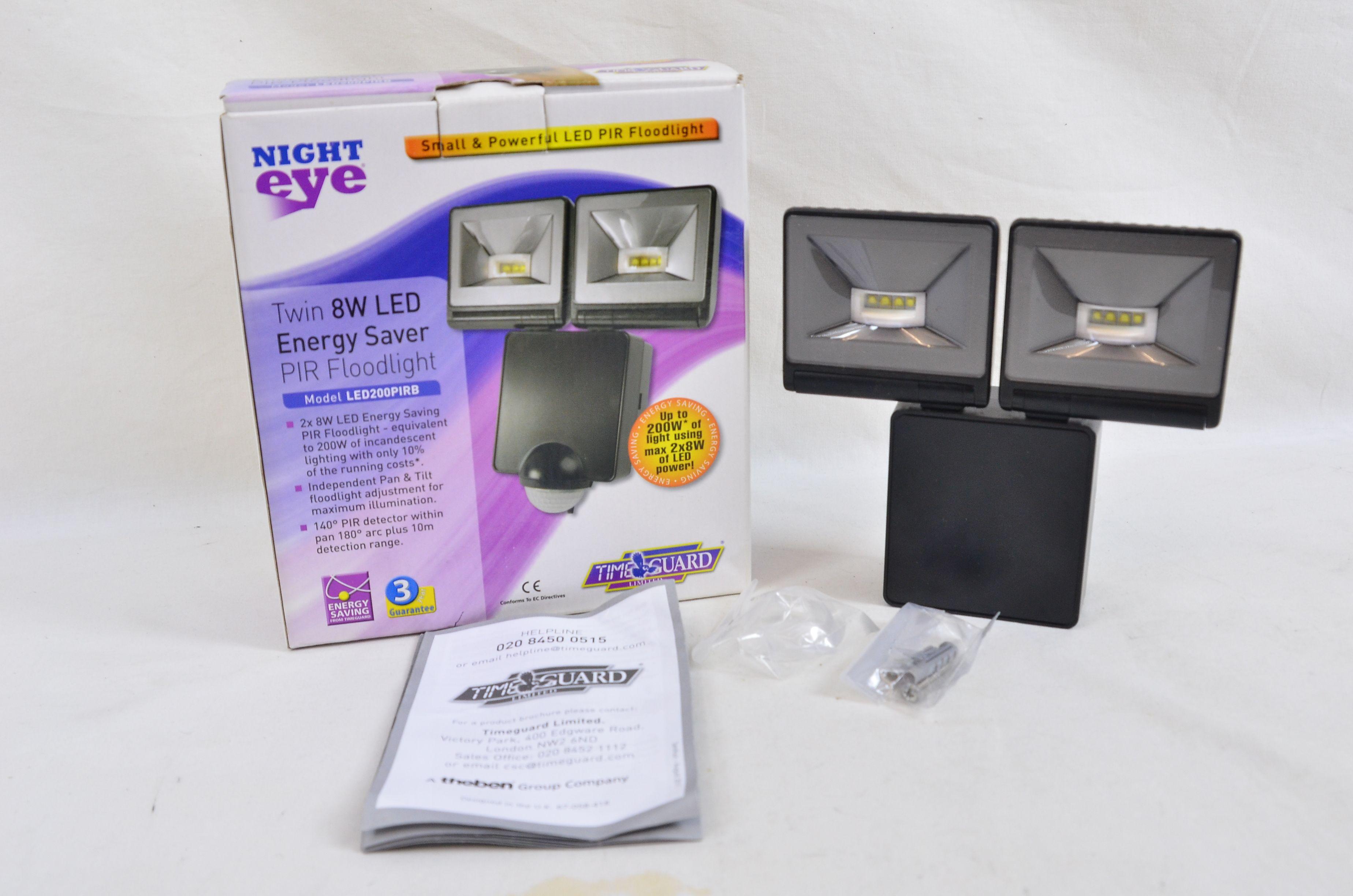 Timeguard Night Eye Twin 8W LED Energy Saver Floodlight LED200FLB Black Thumbnail 1