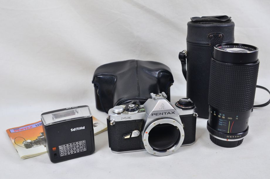 Pentax ME Body 35mm Untested SLR Philips 20b Flash Sears 80-200mm F4 Tele-zoom