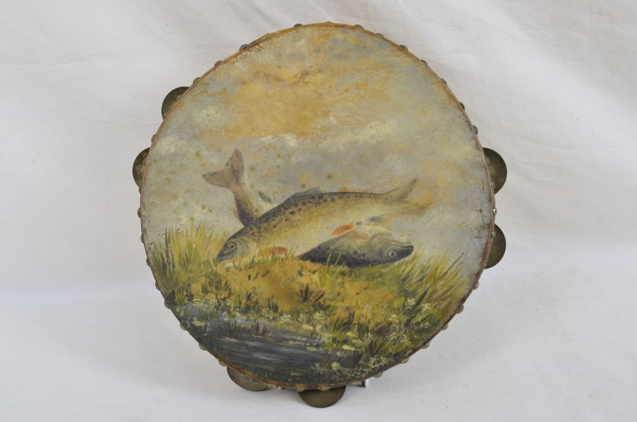 Two Landed Fish On Bank Painted Scene Vintage Tambourine Percussion Instrument​