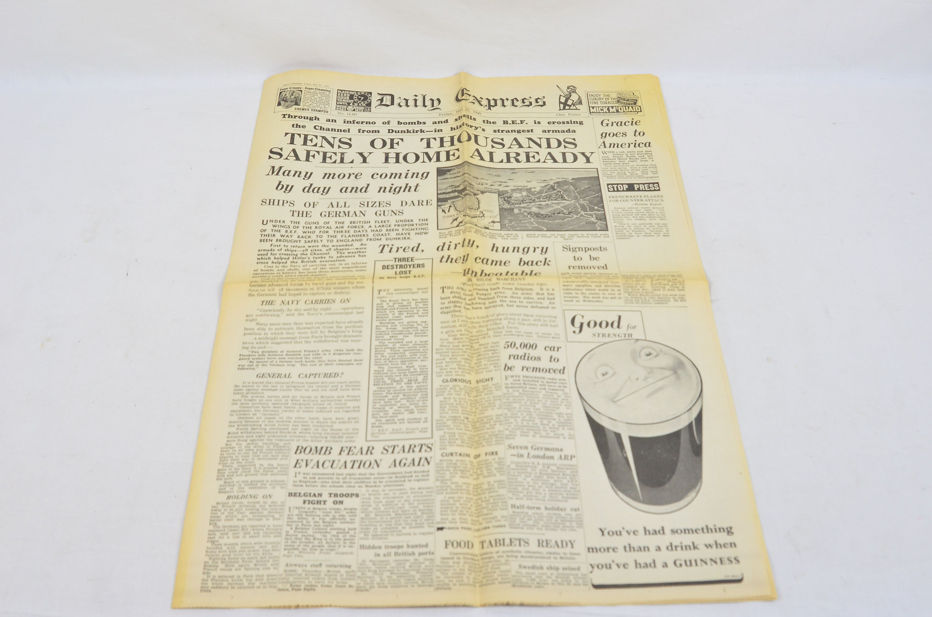 Daily Express May 31 1940 Evacuation Of Dunkirk Operation Dynamo Newspaper 1