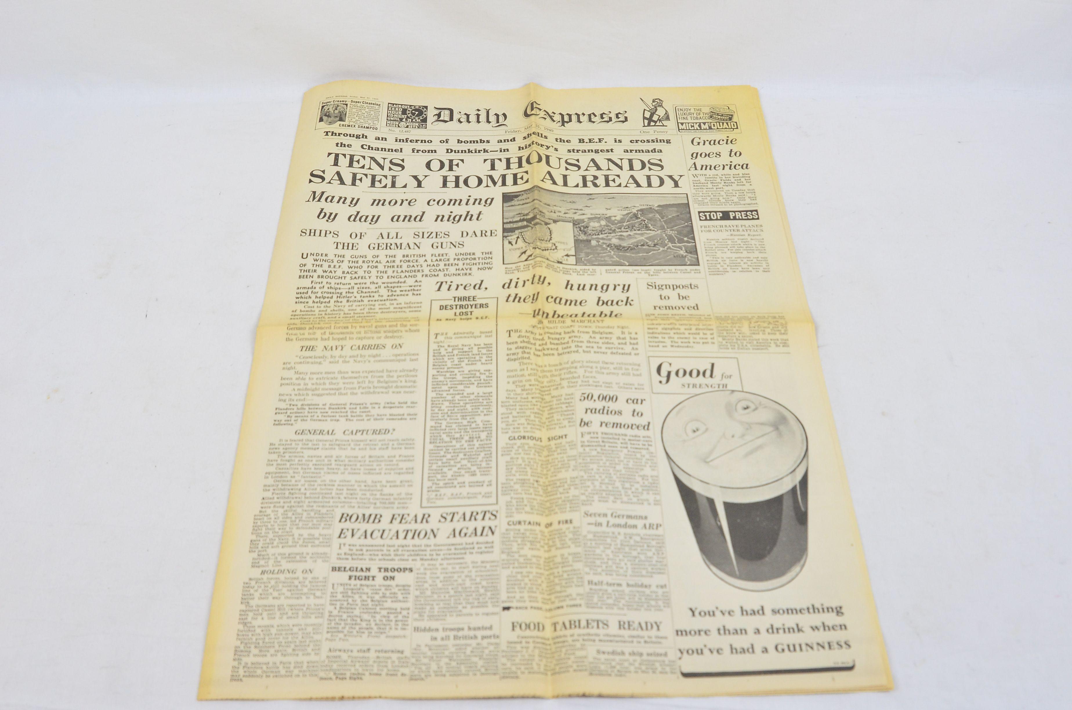 Daily Express May 31 1940 Evacuation Of Dunkirk Operation Dynamo Newspaper Thumbnail 1
