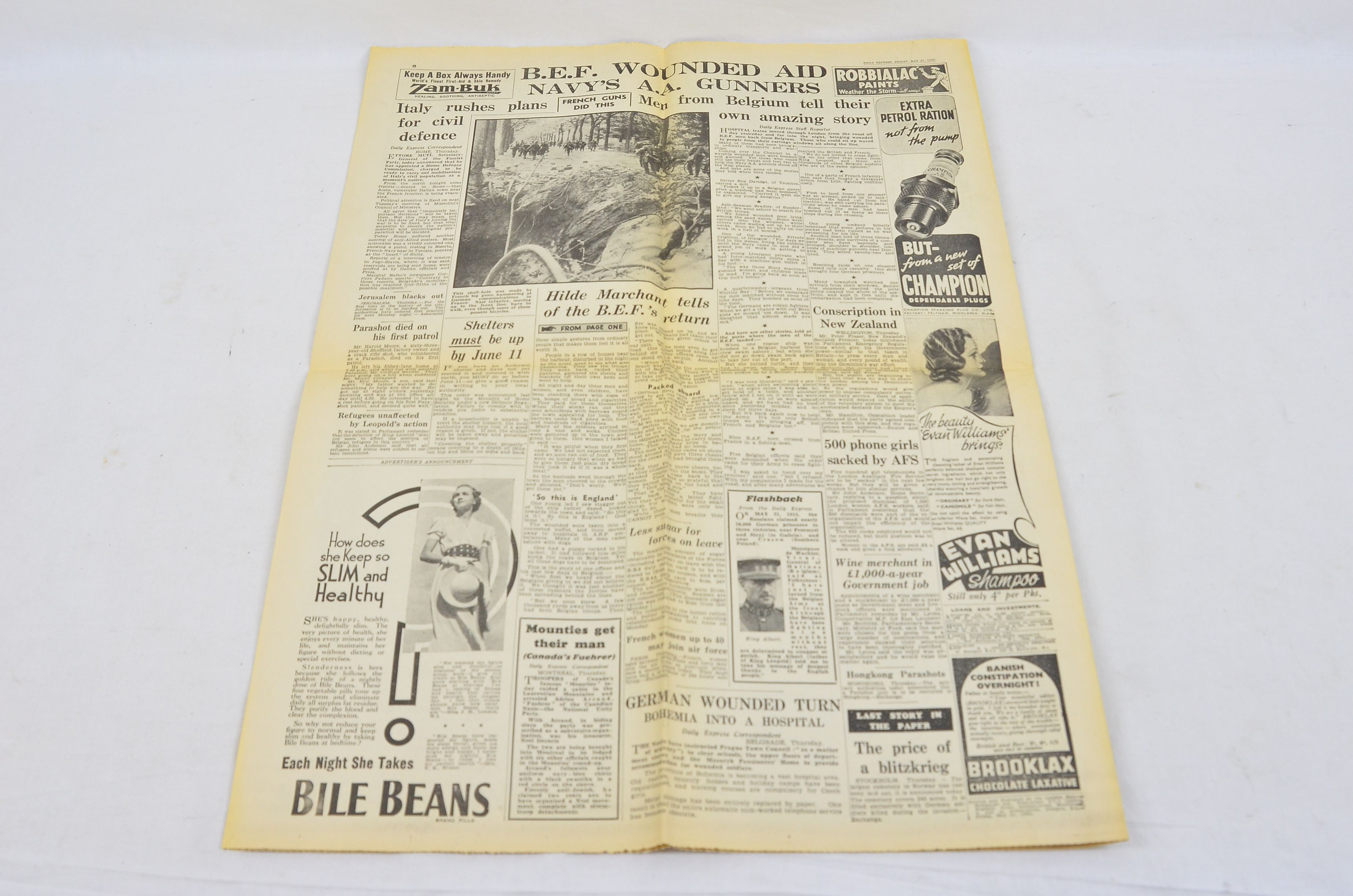 Daily Express May 31 1940 Evacuation Of Dunkirk Operation Dynamo Newspaper 5